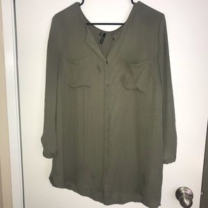 ☀️ Maurices Green Sheer Dress Shirt